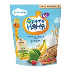 Sausā piena daudzgraudu biezputra ar banāniem, āboliem  un zemenēm bērniem no 6 mēnešu vecuma «ФрутоНяня» 200g