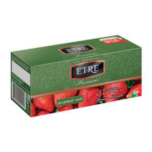 """Zaļā tēja paciņās """"Etre"""" ar zēmenēm (25 gb. 2 gr.) 50g"""