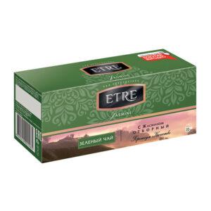 """Zaļā tēja paciņās """"Etre"""" ar jasmīnu (25 gb. 2 gr.) 50g"""