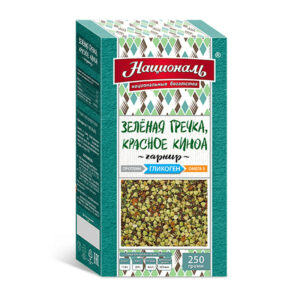 Zaļie griķi, sarkanā kvinoja ТМ «Националь» sērija veselīgs dzīvesveids sportistiem 250g