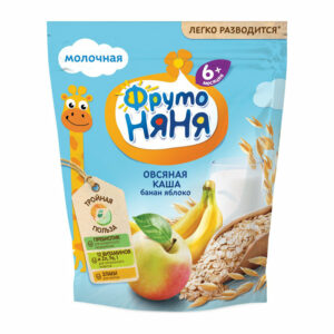 Sausā piena auzu pārslu biezputra ar banāniem un āboliem bērniem no 6 mēnešu vecuma «ФрутоНяня» 200g