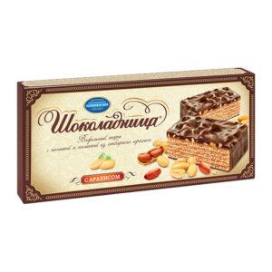 """Glazēta vafeļu torte """"Шоколадница"""" ar zemesriekstiem 270g"""