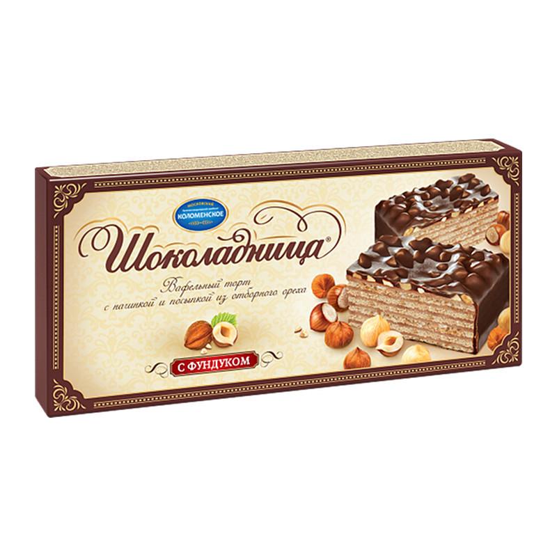 """Glazēta vafeļu torte """"Шоколадница"""" ar lazdu riekstiem 270g"""