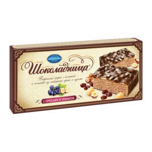 """Glazēta vafeļu torte """"Шоколадница"""" ar riekstiem un rozīnēm 270g"""