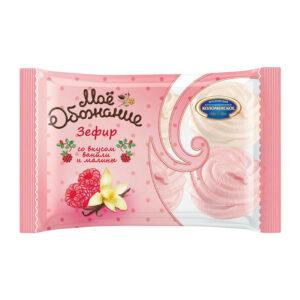 Baltie un rozā zefīri ar vaniļas un aveņu garšu 250g