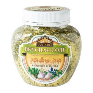"""Sāls – garšvielu maisījums """"Costa Del Вкусная соль"""" ar ķiplokiem un zaļumiem 400g"""