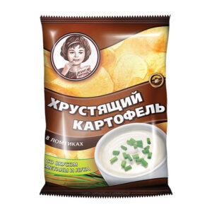«Хрустящий картофель» čipsi ar krējuma un sīpolu garšu 40g