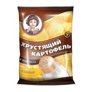 """Čipsi """"Kraukšķīgie kartupeļi"""" «Хрустящий картофель» ar sāli 160g"""