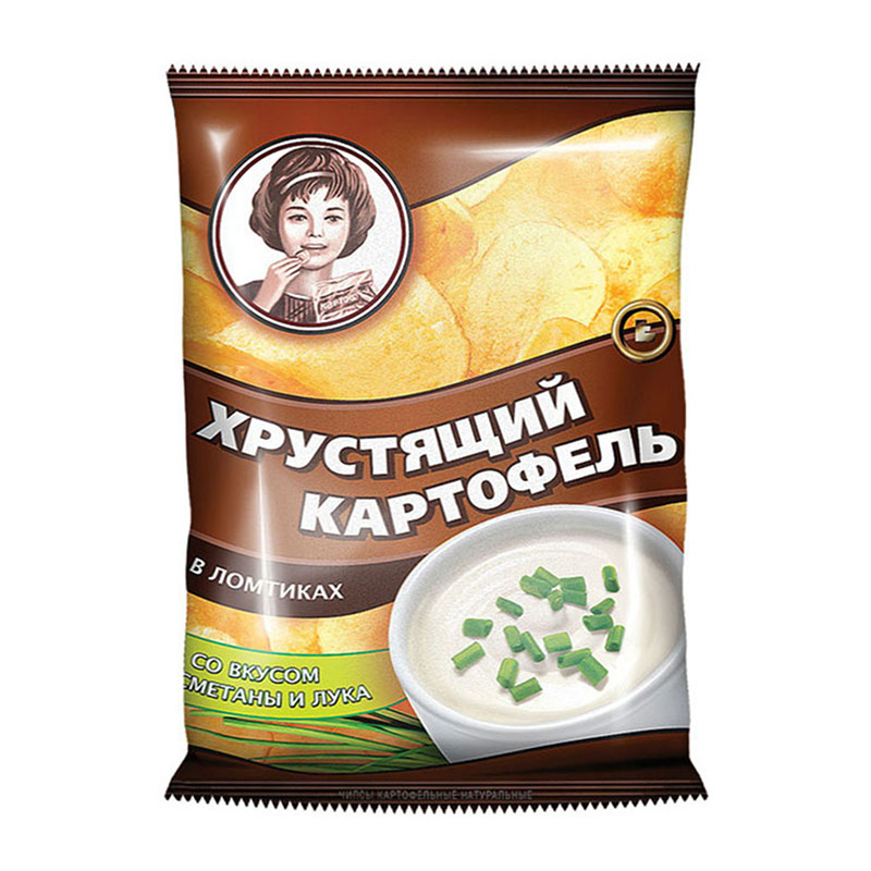 «Хрустящий картофель» čipsi ar krējuma un sīpolu garšu 160g