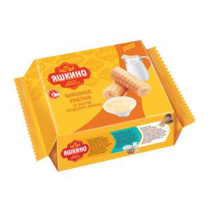 """Vafeļu ruļļi """"Яшкино"""" ar iebiezināto pienu garšu 160g"""