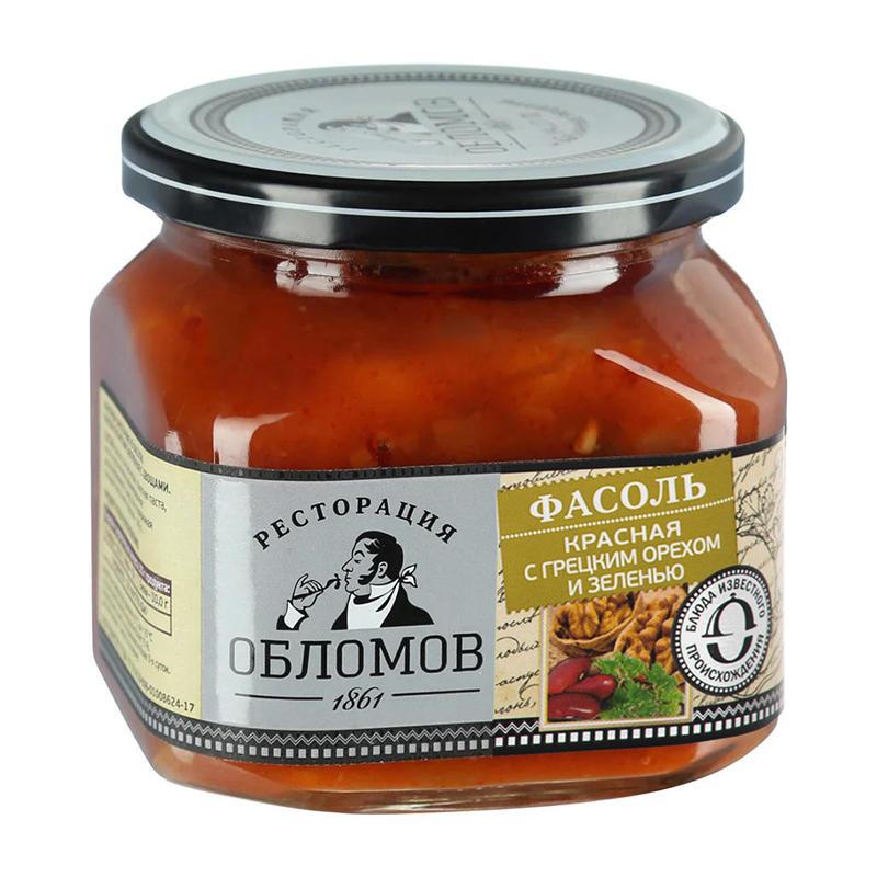 Sarkanās pupiņas ar valriekstiem un zaļumiem ТМ «Ресторация Обломов» 450g