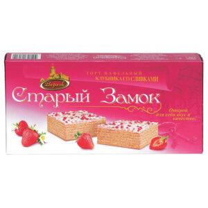 """Zemeņu krējuma vafeļu torte """"Старый Замок"""" 220g"""