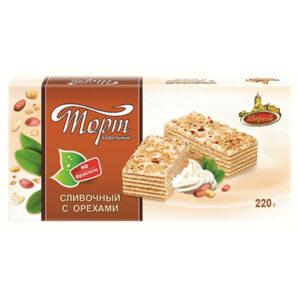 """Krējuma riekstu vafeļu torte """"Старый Замок"""" ar fruktozi 220g"""