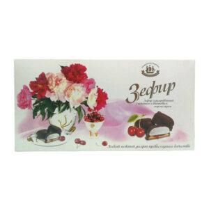 Vanīla zefīrs šokolādes glazūrā uz cepuma ar ķiršu pildījumu 180g