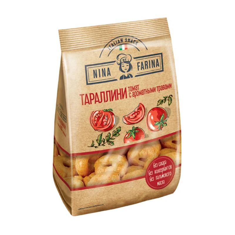 """Miniatūras Itāļu sausas baranciņas Tarallini """"ar tomātiem un aromātiskiem augiem"""" 180g"""