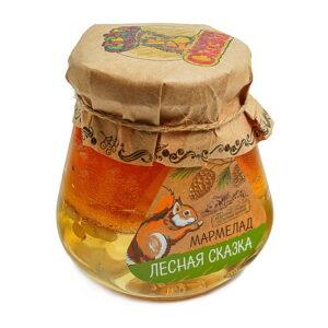 """Marmelāde stikla burciņā """"Лесная сказка"""" ar ciedra riekstiem un priežu čiekuriem 300g"""