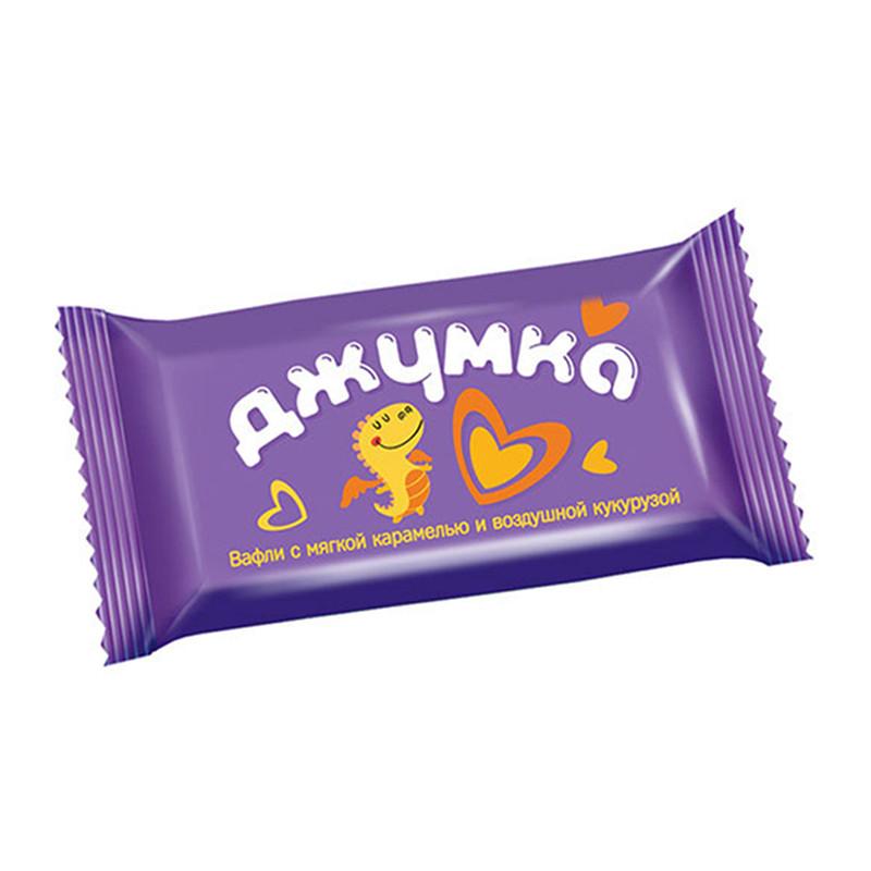 """Vafeļu mini batoniņi """"Джумка"""" piena šokolādes glazūrā ar popkornu 500g"""
