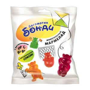 «Бегемотик Бонди» fasētas košļājamās želejkonfektes ar augļu pildījumu 70g