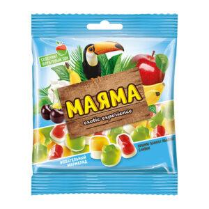 Fasētas košļājamās želejkonfektes ar banānu, ābolu, ķiršu un krējuma garšu «Маяма» 70g