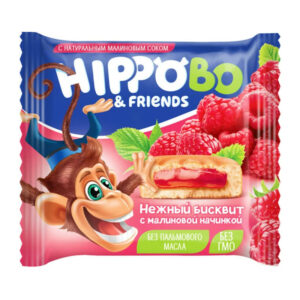 Biskvīta kūka HIPPO BO & friends ar aveņu pildījumu 32g