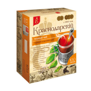 """Melnā tēja """"Краснодарскiй с 1901 года"""" (100 gab. 1.7 gr) 170g"""