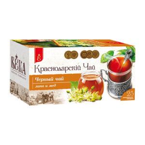 Melnā tēja ar liepziedu un medu paciņās «Краснодарскiй» (25 gb 1.7 gr) 43g