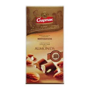 """Piena šokolāde """"Spartak"""" ar veselām mandelēm 90g"""