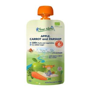Ābolu, burkānu un pastinaku biezenis Fleur Alpine Organic bērniem no 6 mēnešu vecuma 120g
