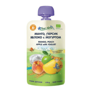 Mango, persiku un ābolu biezenis ar jogurtu Fleur Alpine Organic bērniem no 6 mēnešu vecuma 120g