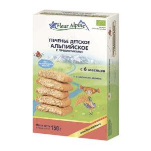 Šķīstošie cepumi ar prebiotiķiem Fleur Alpine Organic pēc Alpu receptes bērniem no 6 mēnešiem 150g