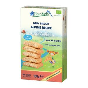 Šķīstošie cepumi Fleur Alpine Organic pēc Alpu receptes bērniem no 6 mēnešu vecuma 150g