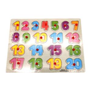 """Koka puzle """"Skaitļi no 0 līdz 20"""" bērniem no 3 gadu vecuma"""